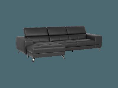 Кожен ъглов диван с регулируеми подглавници Figaro