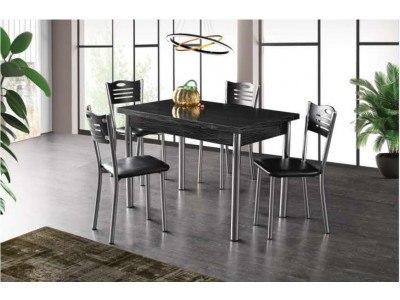 Комплект разтегателна маса с 4 стола Mizia I Черно