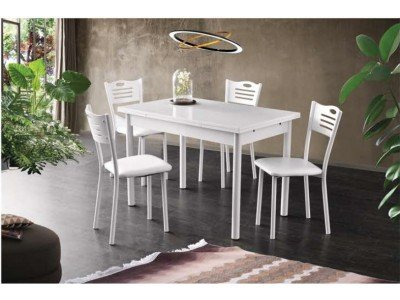Комплект разтегателна маса с 4 стола Mizia I Бяло