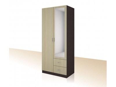 Двукрилен гардероб с огледало и чекмеджета Примо 5