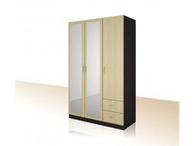 Трикрилен гардероб с чекмеджета и 2 огледала Примо 15